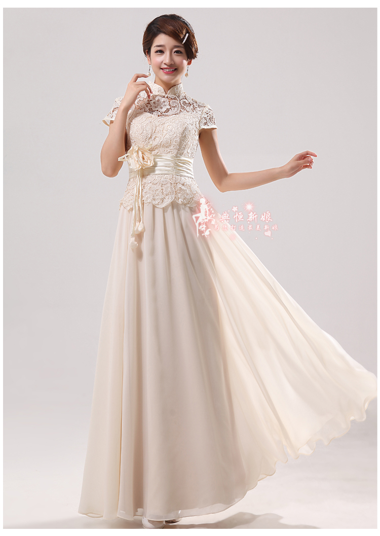 Promotion Hot Flower Lace Chinese Collar Bridal Gown Wedding Long And Short Dress Evening In Dresses From Weddings Events On