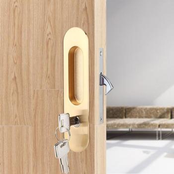 Cerradura de la puerta deslizante con manija, cerradura antirrobo con llaves para puerta de mueble de madera, cerradura electrónica de doble puerta