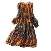 2018 Sale Woman Natural Silk Dress Casual Style O Neck Full Sleeve Woman Mid Calf Length A Line Female Summer Women Dress XL