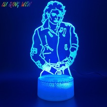 3d Led Night Light Lamp Young Michael Jackson Figure Home Decoration Bright Base Color Changing Nightlight Holiday Birthday Gift