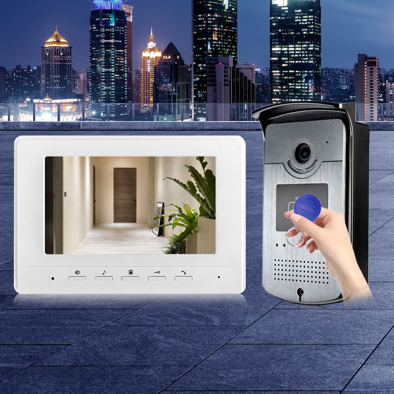 7'' TFT-LCD color video door phone intercom doorbell with RFID EM IR COMS outdoor camera night vision for access control system dhl free 7 lcd 1 v 3 video door phone intercom bells doorbell with ir camera rfid keyfobs code keypad remote control