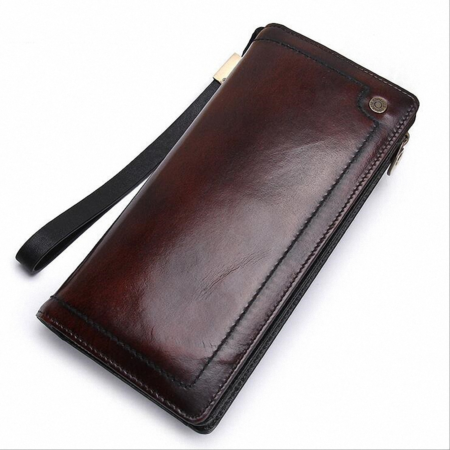 100% Genuine Leather Men Wallets 2016 Vintage Famous Brand Design Card Holder Purse Bag Coin Pockets Zipper Long Clutch LI-1456