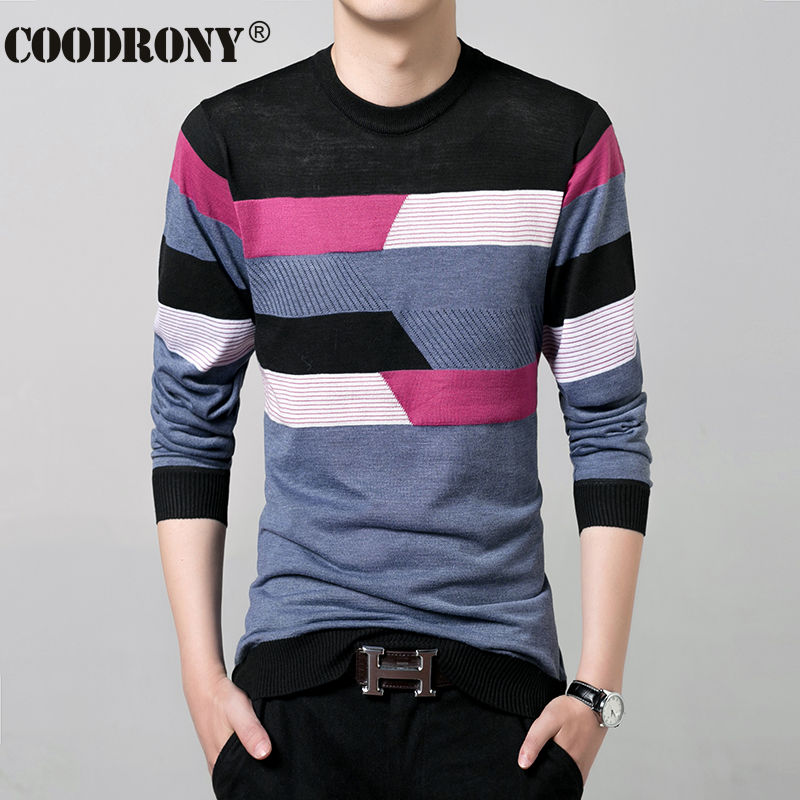 2017 New Autumn Winter Thin Sweater Men Wool Sweaters Knitted Cashmere O-Neck Pullover Shirt Men Casual Striped Pull Homme 66158