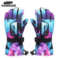 Queshark Men Women Professional Graffiti Waterproof Thermal Skiing Gloves Winter Outdoor Sports Hiking Cycling Snow Ski