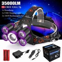 35000LM 5x XM-L T6 светодиодный Перезаряжаемые 18650 Фары головного света фонарик с изменением масштаба Водонепроницаемый 18650 3,7 v Перезаряжаемые Батарея включают в себя