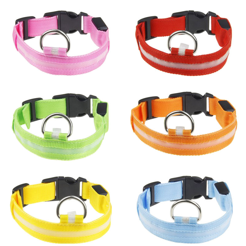 Fashion candy color LED Dog Collar Flashing In Dark Nylon 3 Mode Lighting Safety LED Pet Collar Wide Luminous Pet Products 1