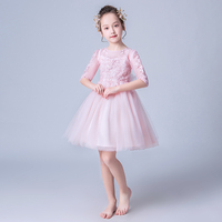 Flower Girls Dress Party Half Sleeve Princess Pink Lace Children Dresses 5 6 7 8 Year Kids Gown Evening Dress