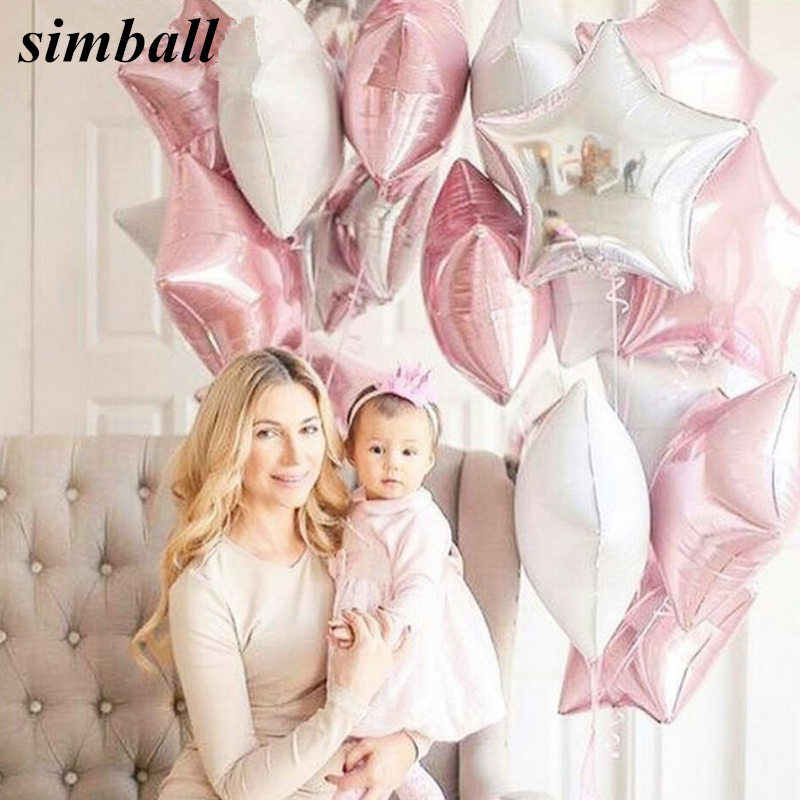 12PCS Baby Shower Girls 18inch Pink White Star Helium Foil Balloons Happy Birthday Party Supplies 1st Party Decoration Air Balls