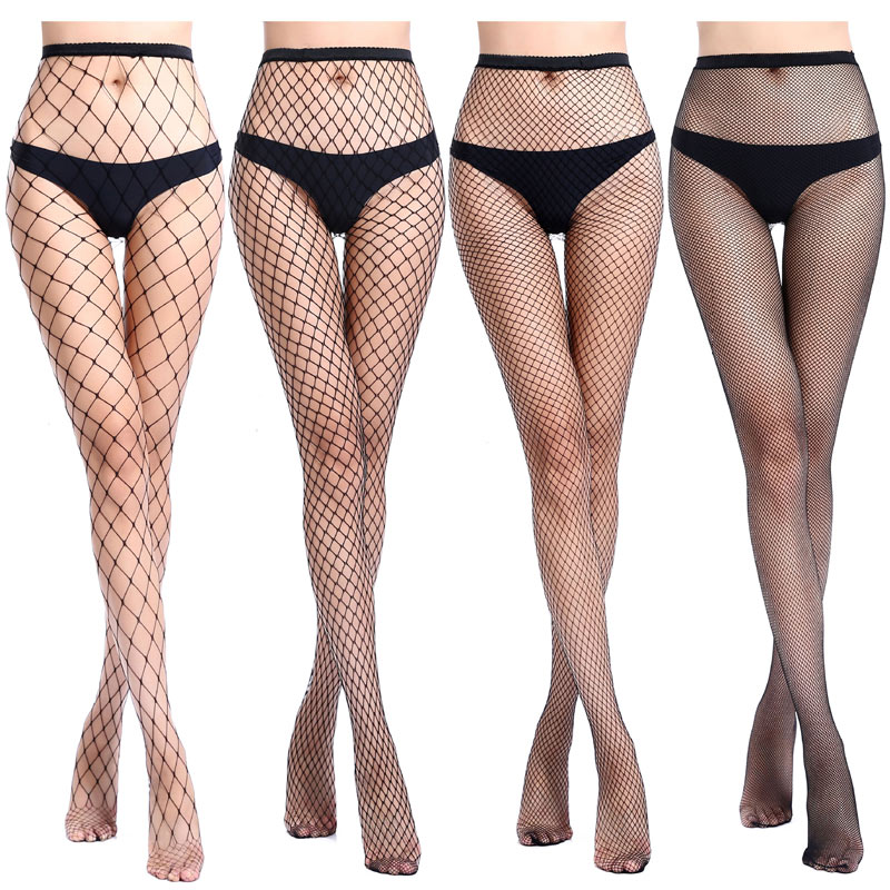Female Fashion Mesh Black Simple Hollow Out Sexy Pantyhose Women Tights Stocking Slim Fishnet Stockings Club Party Hosiery