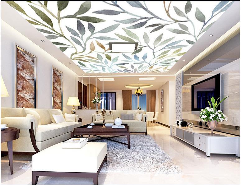 Customized 3d Photo Wallpaper 3d Ceiling Mural Wallpaper Wall Art Watercolor Rendering Leaves Frescoes Wallpaper For