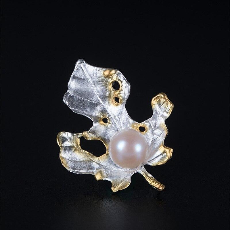 925 Sterling Silber Maple Leaf Perle Broschen Silber Kragen Nadel Natürliche 9mm Perle Ahornblatt Broschen Für Frauen Schmuck Charme Gute Begleiter FüR Kinder Sowie Erwachsene