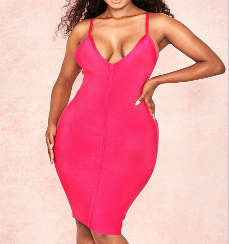 Loehsao brand women mini dress pink bodycon bandage dress deep v neck spaghetti strap evening club