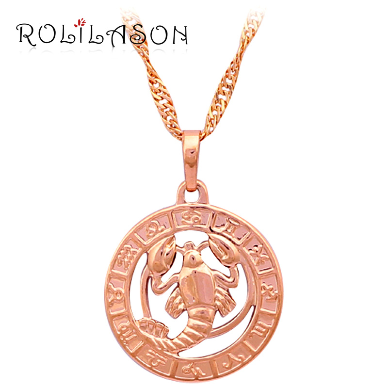 12 Constellation Round Cancer design glittering Necklace yels