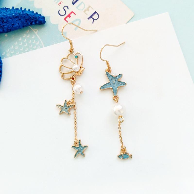 Korean Grils Romantic Starfish Star Earrings Cute Shell Simulated Pearl Dangle Earrings Gold Color Drop Long Earrings Gifts