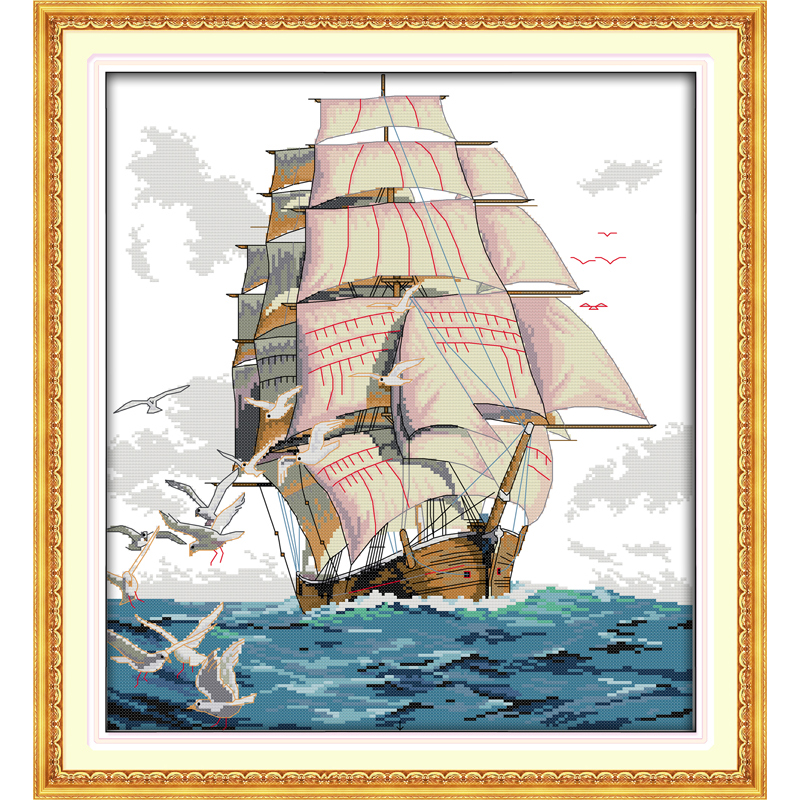 Everlasting love Sailng Chinese cross stitch kits Ecological cotton stamped printed 11CT new DIY Christmas decorations for home