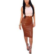 Zanzea Fashion 2019 Women Soft PU Leather Skirt High Waist Slim Hip Pencil Skirts Vintage Bodycon