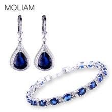 Moliam 2017 estilo de la moda conjuntos de joyas de plata de color pendientes de piedra zirconia pulseras set bisutería mle051f + mll120c