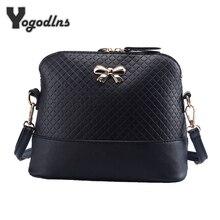 Новая Винтажная сумка из искусственной кожи для женщин, модная маленькая сумка в виде ракушки с бантом, женская сумка на плечо, Весенняя Повседневная сумка через плечо