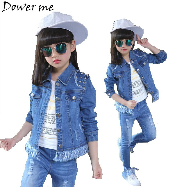 Children Clothes Girls Sportswear Suits Spring Kids Denim Sets Rivet Coat+Jeans Pants Casual Outerwear Autumn Tassel Clothing new 2017 spring girls lace flower denim jacket t shirt jeans clothing sets 3pcs kids clothes sets girls casual denim suit