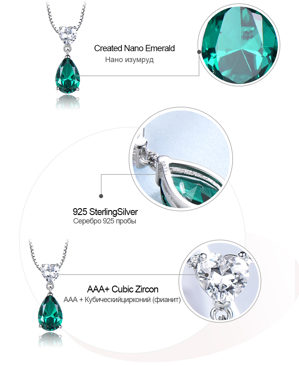 UMCHO ?Emerald   925 sterling silver necklace for women NUJ059E-1-pc (7)