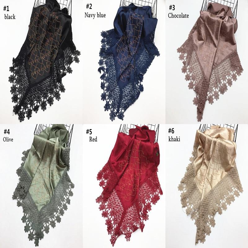 turkish Ladies Embroidery Hijab Wrap Women's  Faux Silk Muslim Stain Hijab Kuwaiti Mona Lace edges Scarf Islamic Cover Headscarf