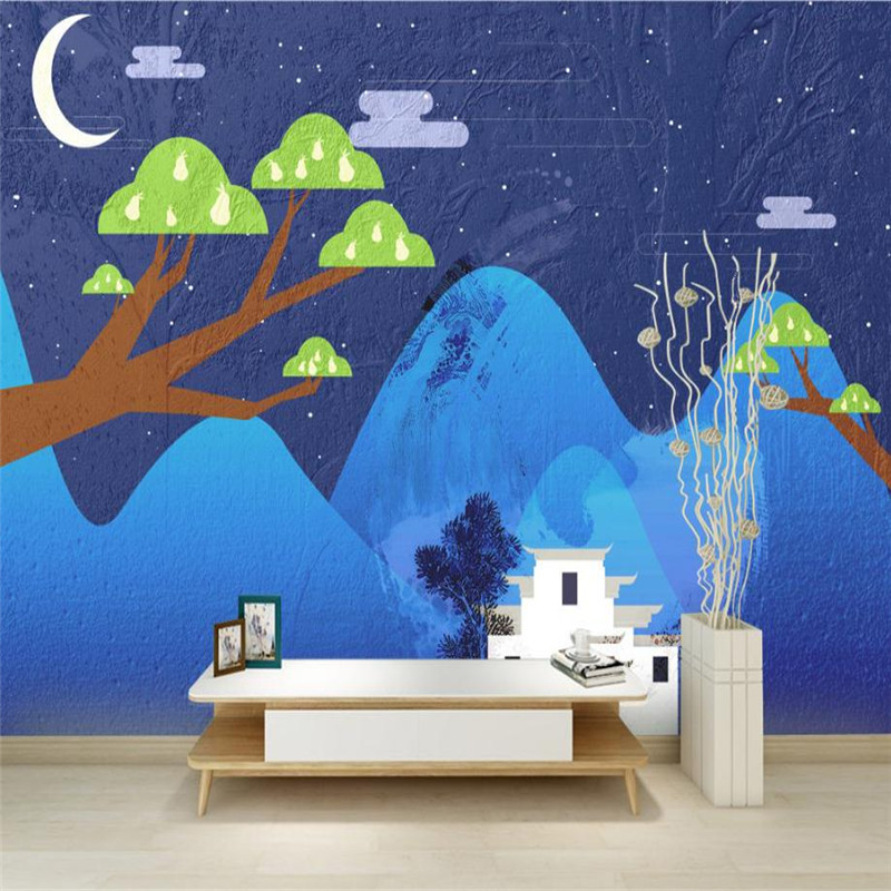 blue wallpaper for walls 3 d nordic simple modern aesthetic cartoon wallpaper for kids room study kitchen desktop background
