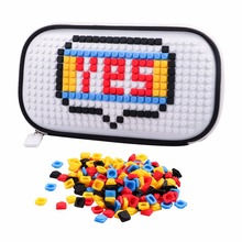 Novelty legoe brick toy with 250pcs Building block pellet for woman girl Building block white businesses pencil bag(China)