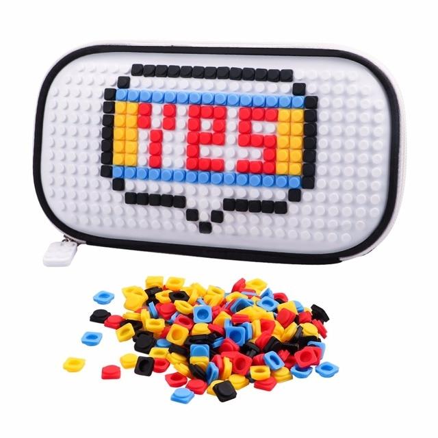 Novelty legoe brick toy with 250pcs Building block pellet for woman girl Building block white businesses pencil bag