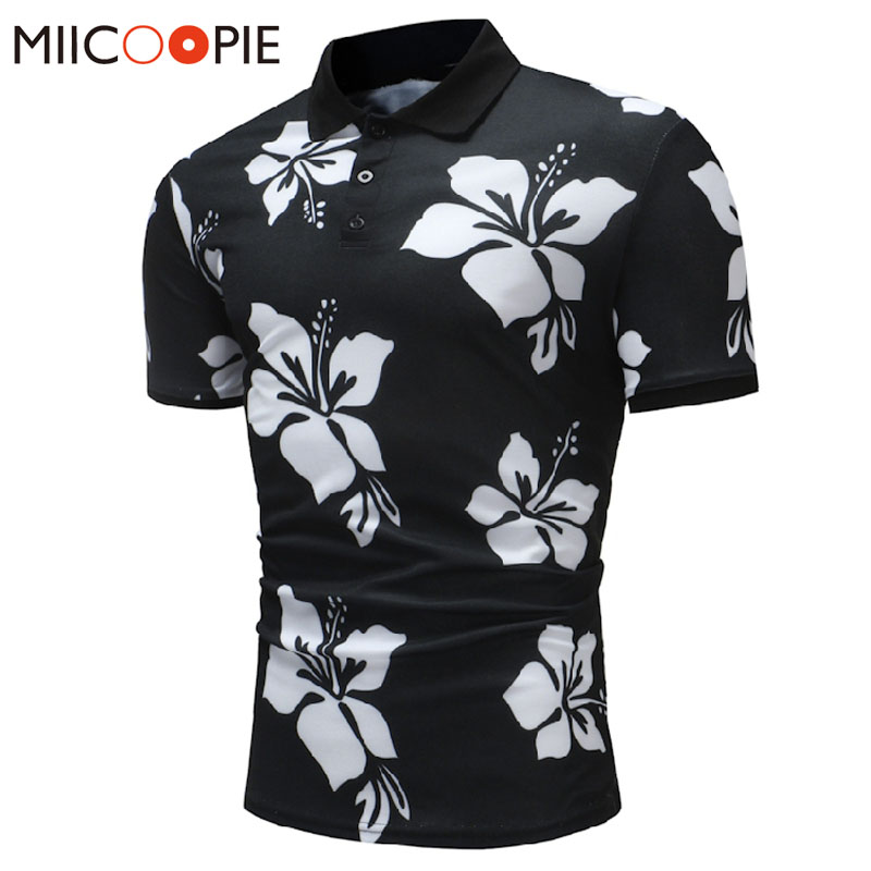 2018 New Summer Cotton   Polo   Shirt Men Short Sleeve Casual   Polo   Floral Soft Camisa   Polo   Shirt Tops For Men Brand Tops&Tees XXXL