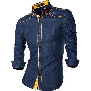 Image 4 - جانيسيان ربيع الخريف الميزات قمصان الرجال جينز غير رسمي قميص جديد وصول طويلة الأكمام عادية سليم صالح قمصان الذكور Z034