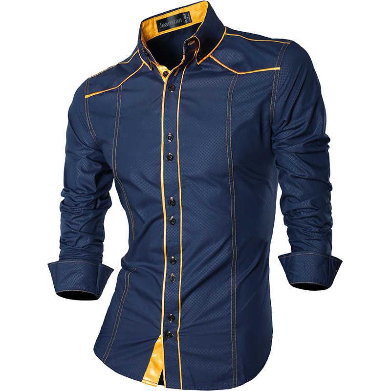 Jeansian primavera outono características camisas dos homens calças de brim casuais camisa nova chegada manga longa casual magro caber camisas masculinas z034