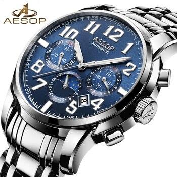 AESOP Luxus Männer Uhr Automatische Mechanische Armbanduhren Top Marke Luminous männer Uhren Drei Zifferblatt Kalender Display Männliche Uhr