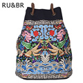 RU&BR Flower Embroidery Ethnic Backpacks National Wind Women Handmade Personality Embroidered Bag Canvas Drawstring Travel Bags