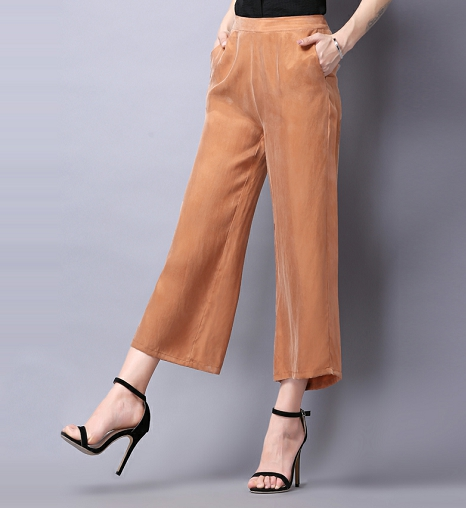 Woman Spring Solid High Elastic Waist 30% Silk Ankle-length   Pants   Female Summer Thin Breathable Loose Straight   Wide     Leg     Pants