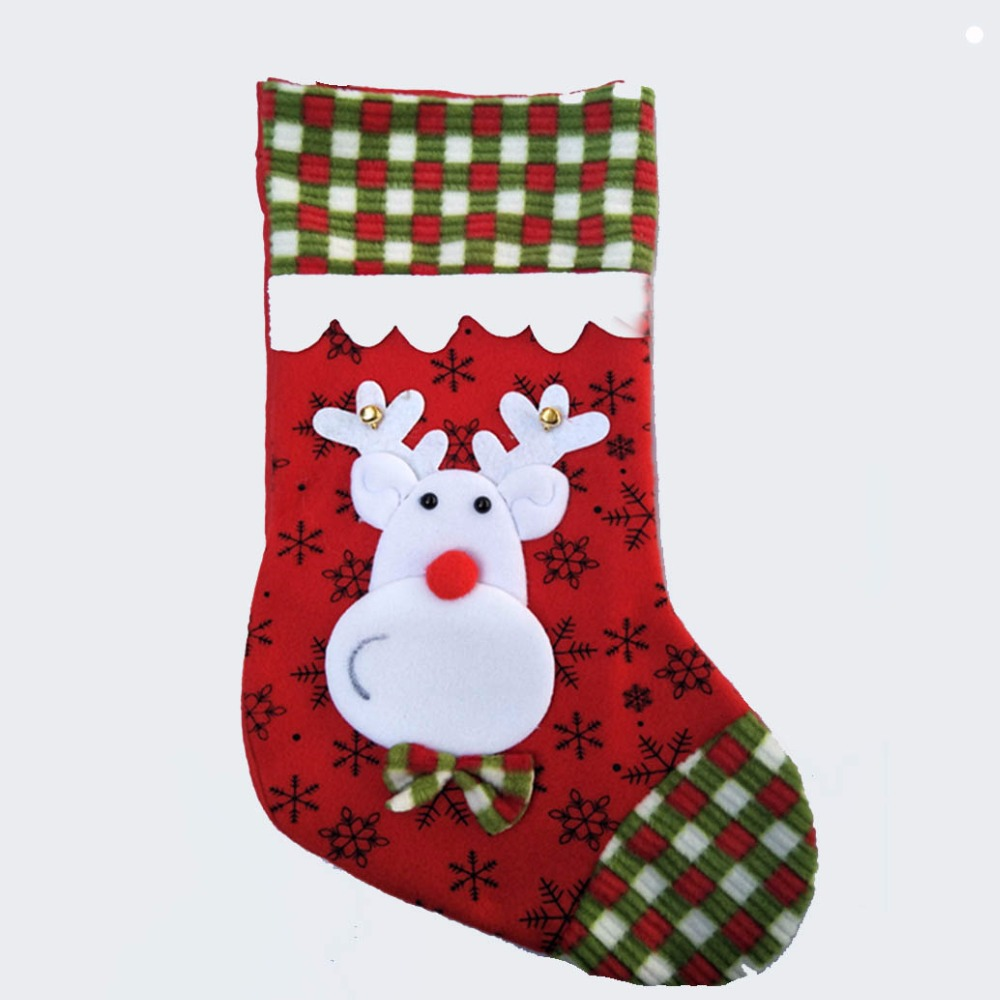 40cm157 inch plush christmas stocking kid xmas stocking children gift bag girls boy candy bag in stockings gift holders from home garden on - Girls Christmas Stocking
