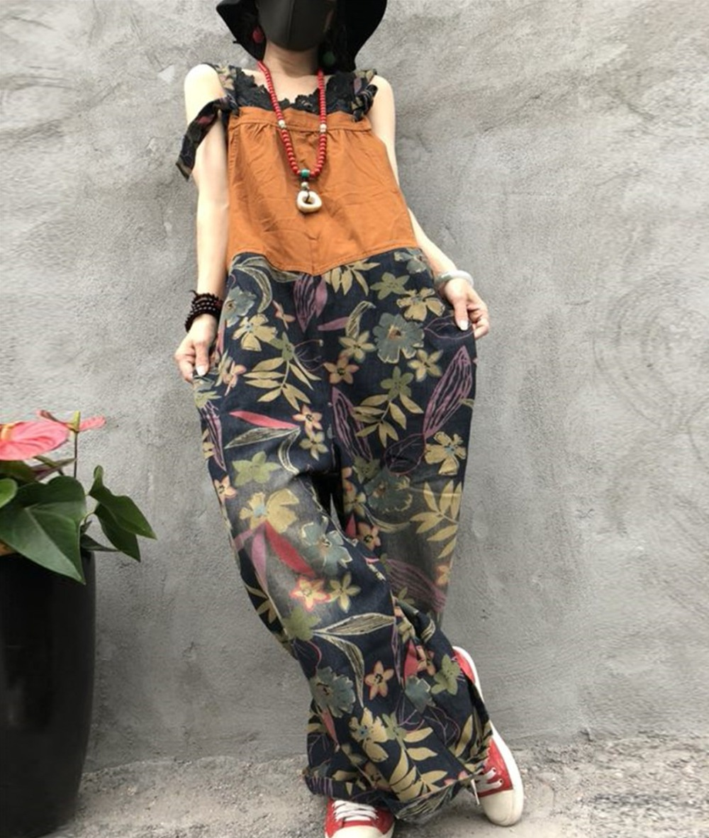 YESNO P17 Women Jeans Cropped Pants Overalls Jumpsuits Floral Printing Distressed 100% Cotton Casual Loose Fit Boyfriend Sty