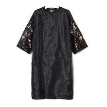 Summer Europe Womens Splicing Mesh T shirt Cross Sequin Dress Black Loose Casual 2017 New Fashion High Quality Women's Vestidos