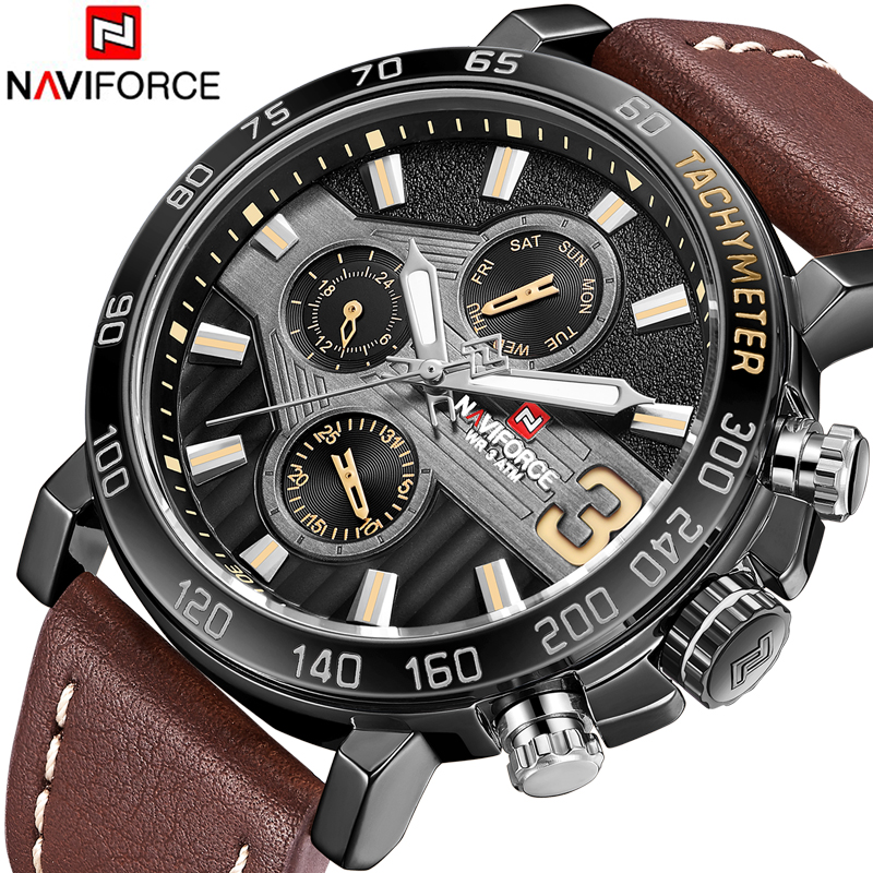 Top Brand Luxury NAVIFORCE Watches Men Fashion Leather Quartz Date Big Dial Clock Casual Sports Male Wrist Watch Montre Homme 4 in 1 bicycle bike high quality security lock wireless alarm anti theft remote control new 828 promotion