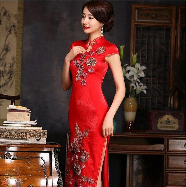 Klassieke Dames Kleding.Rode Klassieke Dames Satin Lange Cheongsam Hot Koop Traditionele
