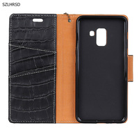 Hot Genuine Leather Crocodile Grain Magnetic Stand Flip Cover For Samsung Galaxy A8 Plus A8 2018