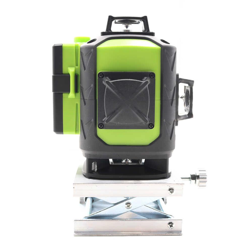 2 adet 4000MAH pil 4D lazer seviyesi 16 satır 515NM yeşil lazer seviyesi otomatik tesviye 360 dikey ve yatay tilt ve açık