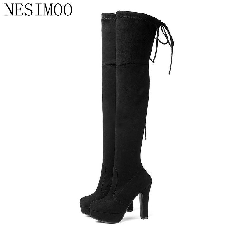 NESIMOO 2019 Autumn/Winter Shoes Woman Pointed Toe Over The Knee Boots High Heel Platform Shoes Ladies Casual Boots Size 34-43NESIMOO 2019 Autumn/Winter Shoes Woman Pointed Toe Over The Knee Boots High Heel Platform Shoes Ladies Casual Boots Size 34-43
