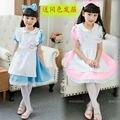 Crianças Venda quente Alice no País Das Maravilhas Traje Vestidos de Crianças Cosplay Empregada Lolita vestido de Trajes de Fantasia para a Menina Headwear Livre
