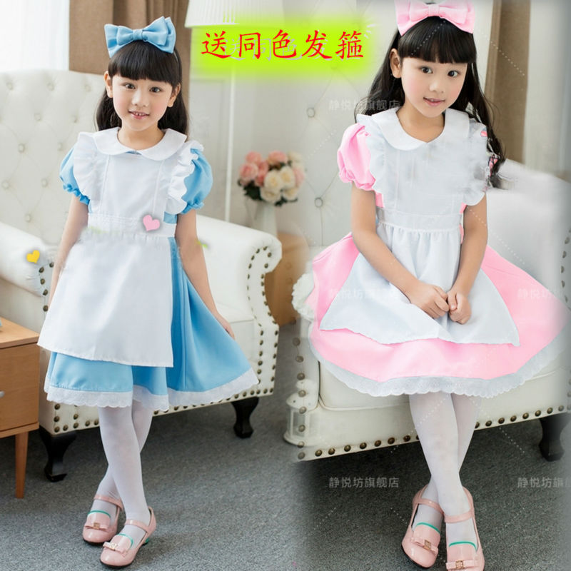 Hot Sale Kids Alice in Wonderland Costume Lolita Dresses Children Maid Cosplay dress Fantasia  Costumes for Girl Free Headwear children egyptian pharaoh costumes 2016 new cosplay masquerade halloween childen kid suit cleopatra royal fantasia disfraces