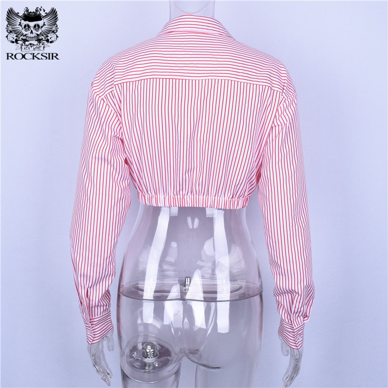Rocksir Sexy Button Red White Striped Blouses Women Elegant Office Cropped Tops Autumn Femme Casual Long Sleeve Office Blouses