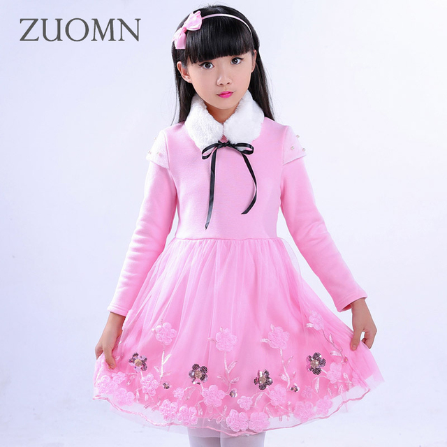 Girls Dress Lace Flower Winter Dress Pink Dresses Long Sleeve Birthday Dress Kids Clothes Princess New Year Party Clothing GH358
