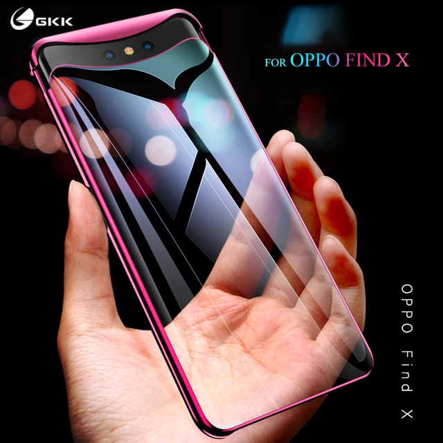 GKK luxury Case for OPPO Find X case Transparent Electroplated half-wrapped Anti-knock Hard PC Back Cover For OPPO Find X coque