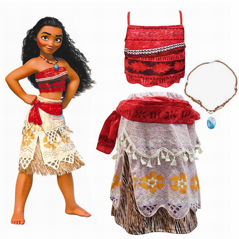 Moana Cosplay Costumes Pretty Girls Cosplay Party Halloween Christmas Moana Girl Dress Kids Clothes Set Skirts+Top+Necklace 3pcs