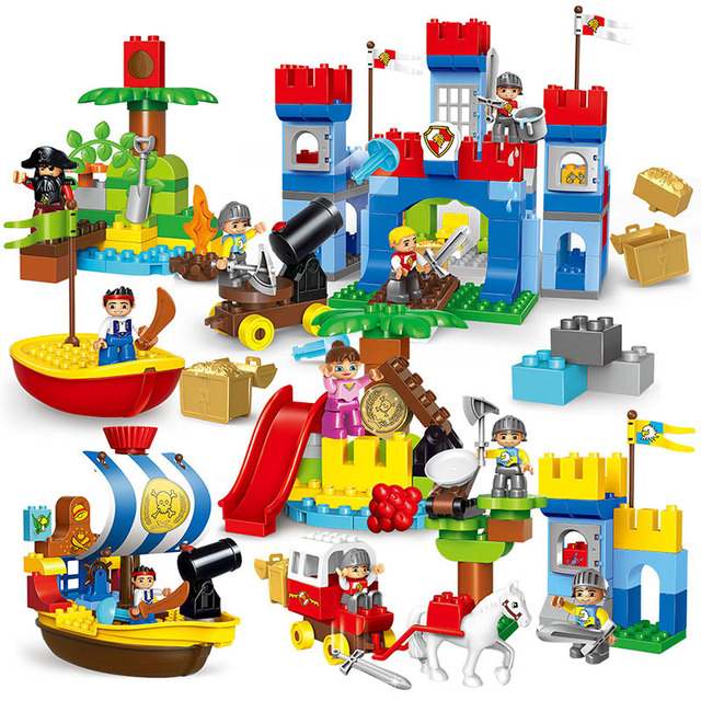 Castle War Pirate Story Set Big Building Blocks DIY Assemble Educational Toys For Children Compatible With Duplo Bricks Boy Gift red pirate ship blocks compatible legoingly war pirate king character action diy bricks cannon building blocks toys for children