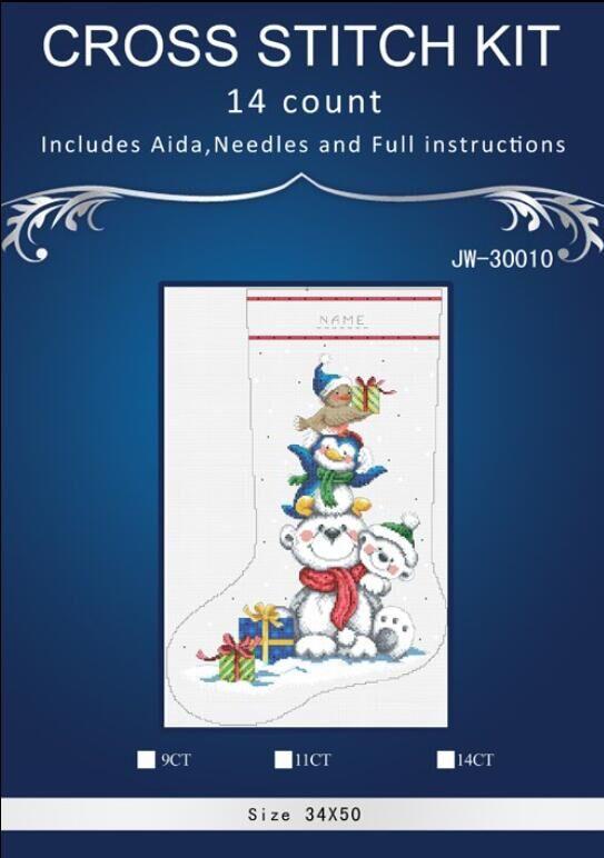 Vánoční ponožka 2 styl Rozměry malba domů Dekoračně počítané bílé plátno Cross Stitch kity14ct vyšívání Sada DIY výšivky